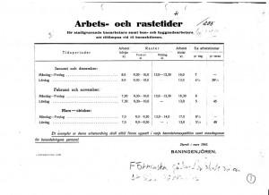 Arbets och rastetider 1940