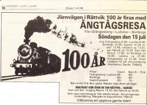 Ångtågsresa 1990