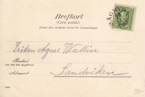 Sågmyra Vykort 1902 postat 1903 baksida